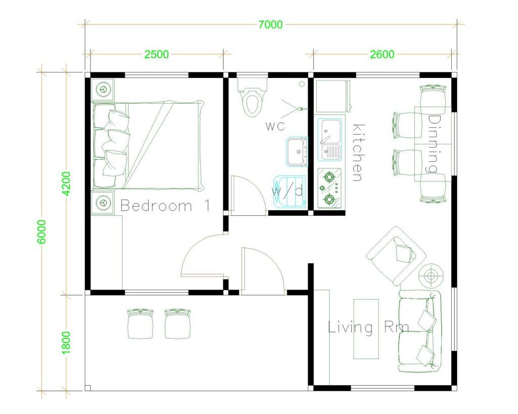 5 Best Single Plans 7x6 Meters with Floor Plan floor plan